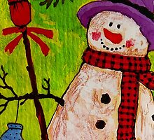 Snowman and Broom by Susan S. Kline