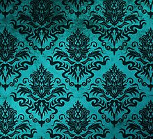 Teal Damask by Megan Noble
