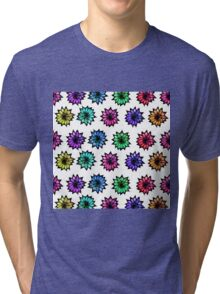 Colorful Hand Painted Flowers Tri-blend T-Shirt
