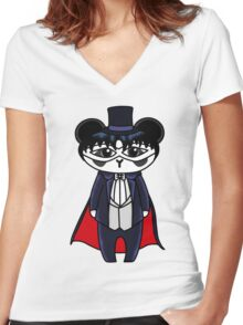 Tuxedo Panda Women's Fitted V-Neck T-Shirt
