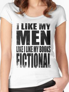 I Like My Men Like I Like My Books, FICTIONAL - BLACK Women's Fitted Scoop T-Shirt