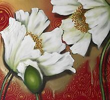 White Poppies on Red by Cherie Roe Dirksen