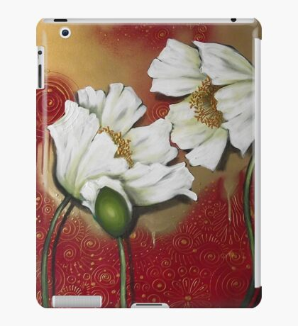 White Poppies on Red iPad Case/Skin