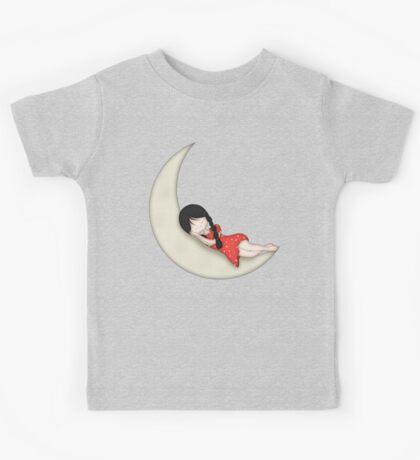 Whimsical Girl Sleeping on the Moon Kids Tee
