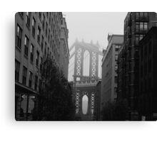 Misty Manhattan Bridge Canvas Print