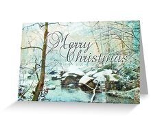 Merry Christmas Greeting Card - Snowy Unami Creek Greeting Card