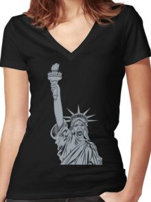 The Angels Take Manhattan  Women's Fitted V-Neck T-Shirt