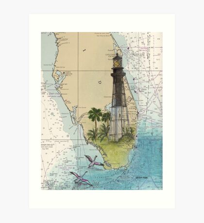 Hillsboro Inlet Lighthouse FL Chart Cathy Peek Art Print