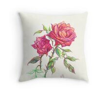Miniature Red Roses in the Garden Throw Pillow