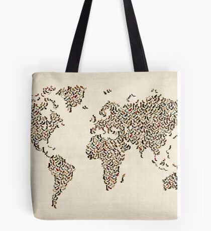 Ladies Shoes Map of the World Map Tote Bag