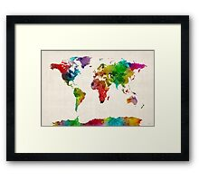 Watercolor Map of the World Map Framed Print