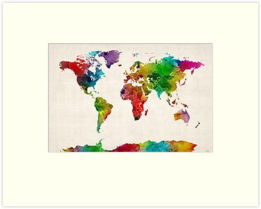 Watercolor Map of the World Map by ArtPrints