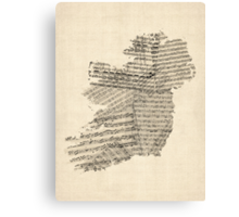 Old Sheet Music Map of Ireland Map Canvas Print