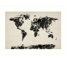 Map of the World Map Dark Abstract Painting Art Print