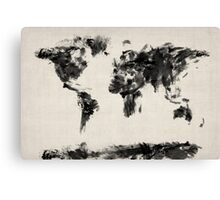 Map of the World Map Dark Abstract Painting Canvas Print
