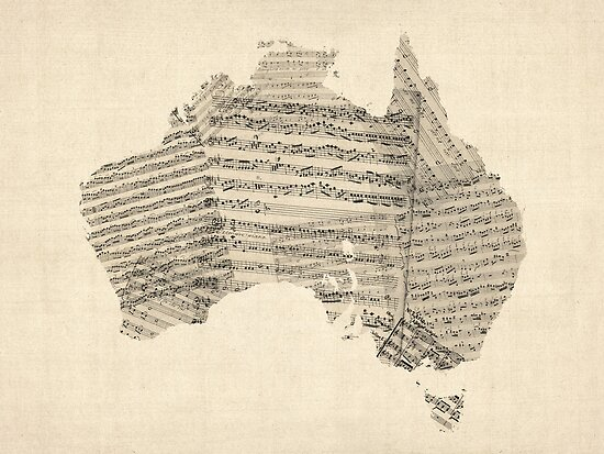 Old Sheet Music Map of Australia Map by Michael Tompsett