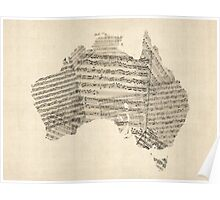 Old Sheet Music Map of Australia Map Poster
