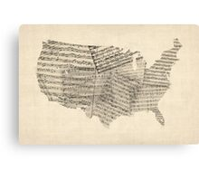 United States Old Sheet Music Map Canvas Print