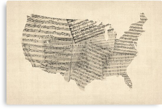 United States Old Sheet Music Map by Michael Tompsett