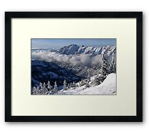 Mountains from summit of Snowbird ski resort in Utah Framed Print