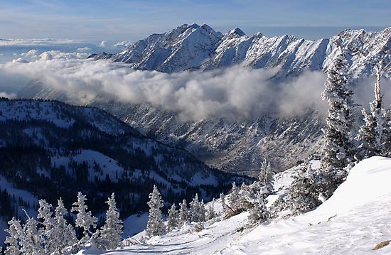 Mountains from summit of Snowbird ski resort in Utah by Anton Oparin