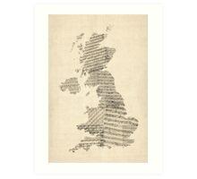 Great Britain UK Old Sheet Music Map Art Print