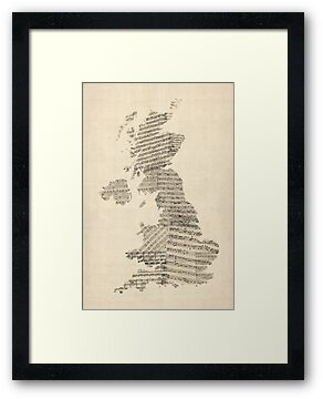 Great Britain UK Old Sheet Music Map by ArtPrints