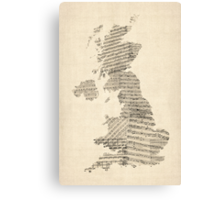 Great Britain UK Old Sheet Music Map Canvas Print
