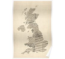 Great Britain UK Old Sheet Music Map Poster