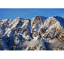 Sunset at mountains from summit of Snowbird ski resort in Utah Photographic Print
