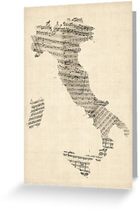Old Sheet Music Map of Italy Map by ArtPrints
