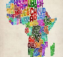Typography Map of Africa by ArtPrints