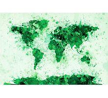 World Map Paint Splashes Green Photographic Print