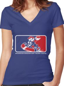 Mushroom Kingdom Kart Racing League Women's Fitted V-Neck T-Shirt