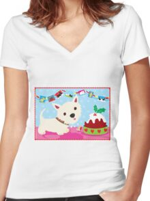 Westie and Christmas Pudding Women's Fitted V-Neck T-Shirt