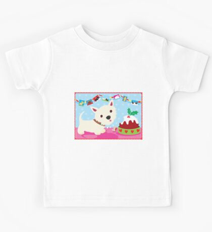 Westie and Christmas Pudding Kids Tee