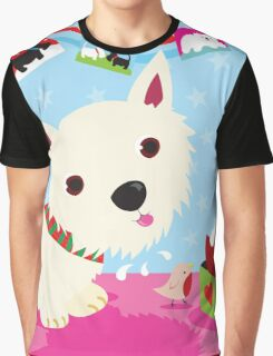 Westie and Christmas Pudding Graphic T-Shirt