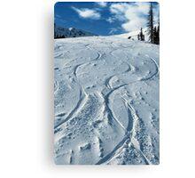 First ski tracks at Snobasin, Utah Canvas Print
