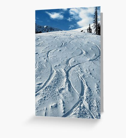 First ski tracks at Snobasin, Utah Greeting Card