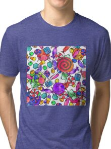 Colorful Watercolor Hand Drawn Candy Pattern Tri-blend T-Shirt
