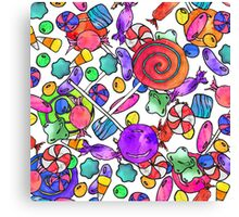 Colorful Watercolor Hand Drawn Candy Pattern Canvas Print