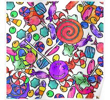 Colorful Watercolor Hand Drawn Candy Pattern Poster
