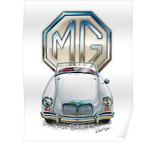 MGA Sports Car Print in White Poster