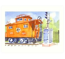 Red Caboose with Signal  Art Print