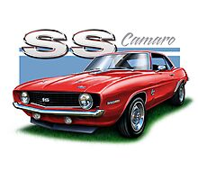 Camaro SS 1969 in Red Photographic Print