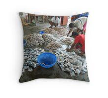 Fish Market Kerala India Throw Pillow