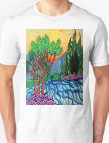 Cypress and Olive trees by the river T-Shirt