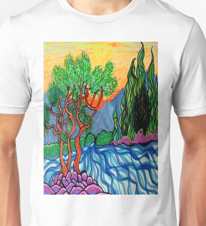 Cypress and Olive trees by the river Unisex T-Shirt