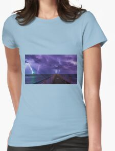 Lighthouses in a Thunderstorm with Purple Rain Womens Fitted T-Shirt