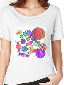 Scattered Colorful Watercolor Hand Drawn Candy Women's Relaxed Fit T-Shirt
